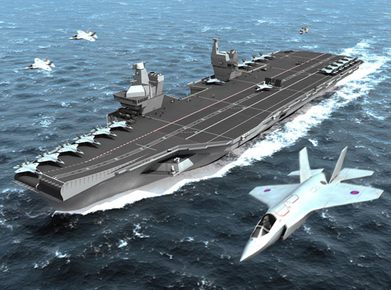 An Artists impression of the new CVF (Future Carrier) and JSF (Joint Strike Fighter)
