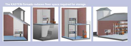The Kasten - Tornado reduces floor space required for storage