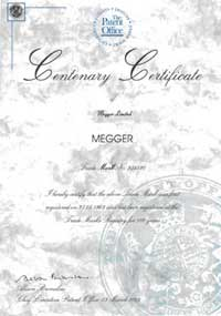 Certificate of achievement commemorates Megger centenary